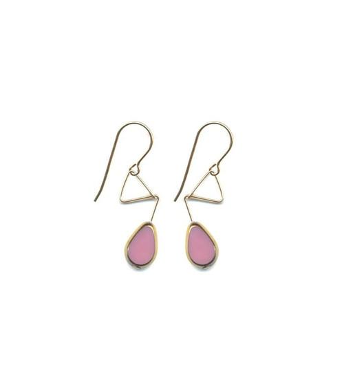 Pink Beaded Gold Trianlge Earrings