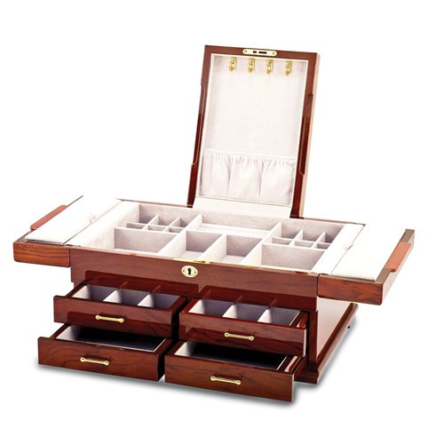 Bubinga Burl Inlay Deluxe Jewelry Box