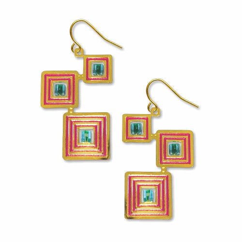 Klimt's The Kiss Quadrangle Earrings