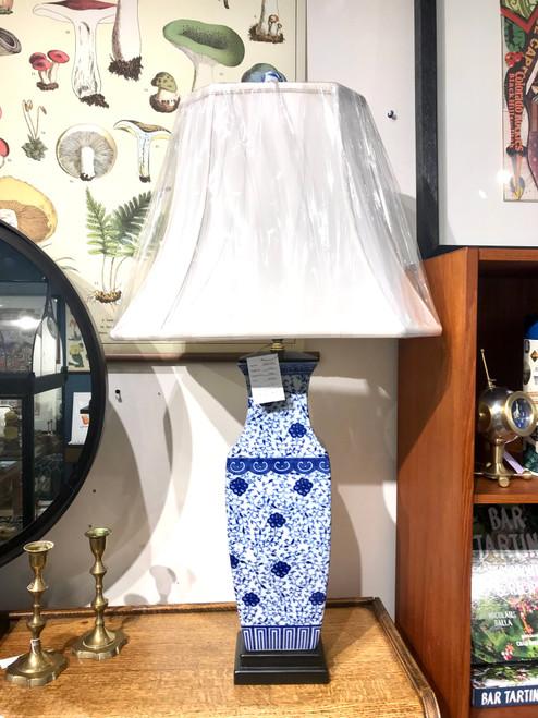 English Rectangle Vase Porcelain Lamp