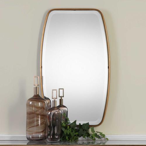 Gold leaf frame beveled mirror