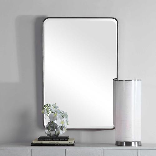 Silver leaf frame beveled mirror