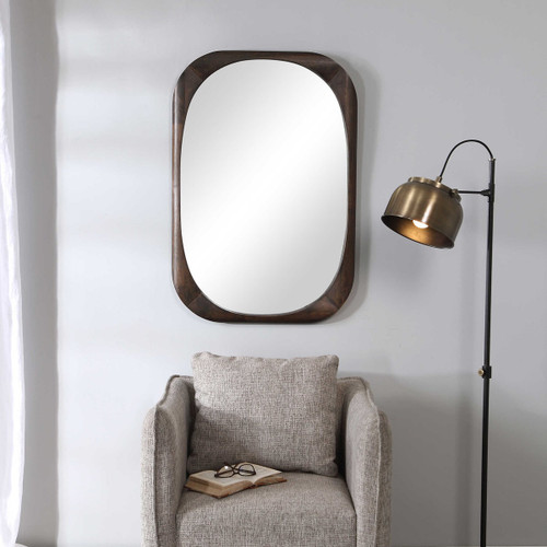 Sculptural wood frame wall mirror