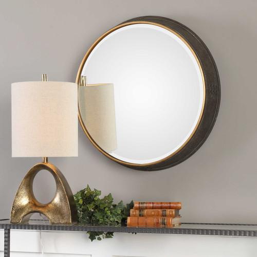Rustic Metal Round Beveled Mirror