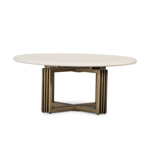 Polished Concrete/ Brass Round Coffee Table
