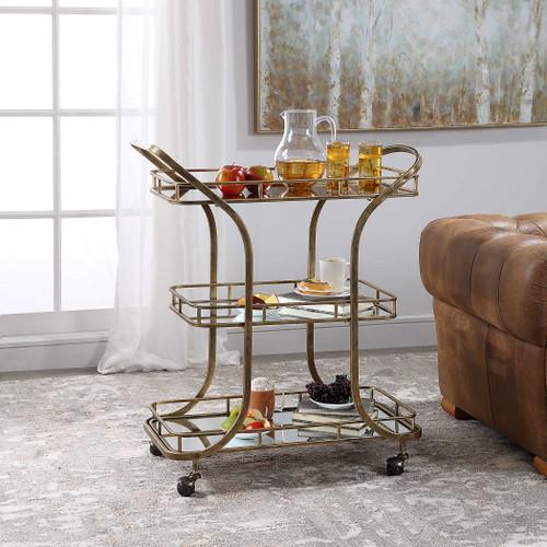 Three-Tier Mirrored Bar Cart