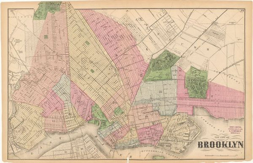 Framed Map of Brooklyn 1873