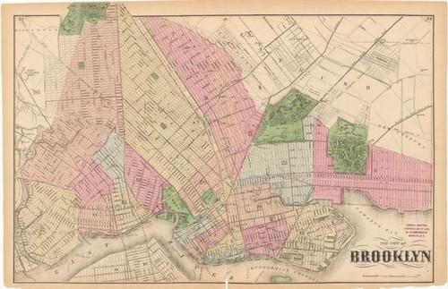 Framed Map of Brooklyn 1873
