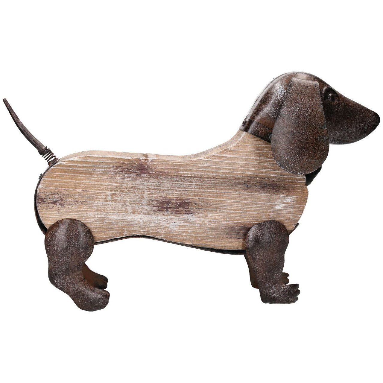 Rustic Wood Metal Hand Crafted Dachshund Dog Garden Sculpture Ornament