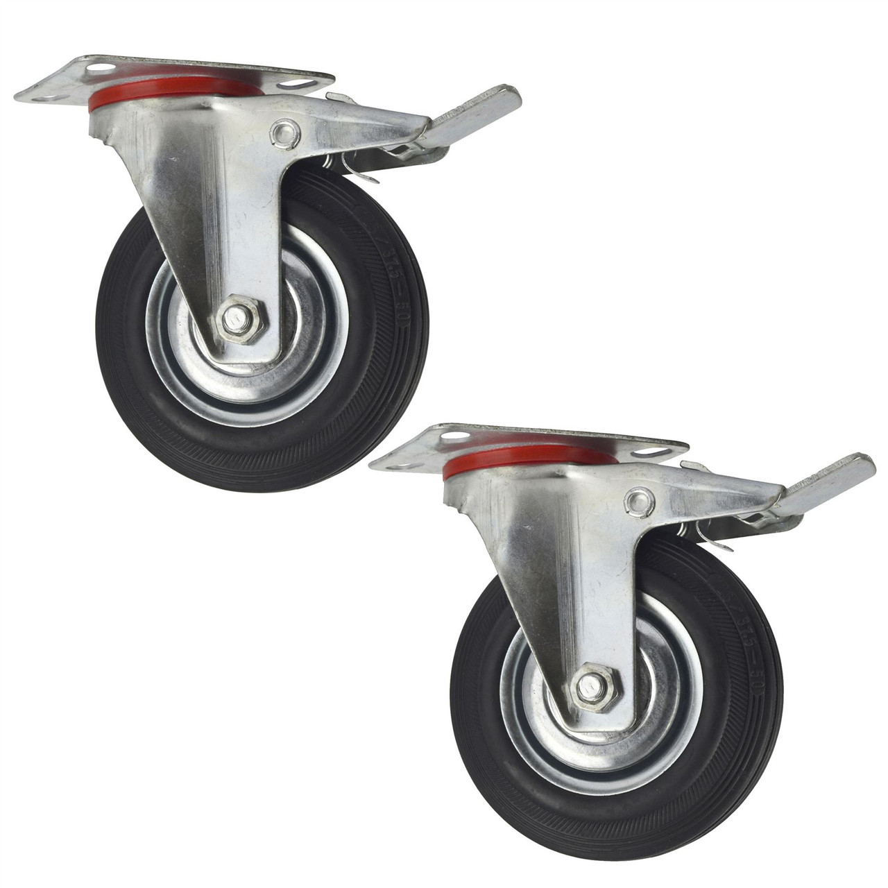 """Rubber Fixed Castor Wheels Trolley Furniture Caster 125mm CST06 2 Pack 5/"""""""