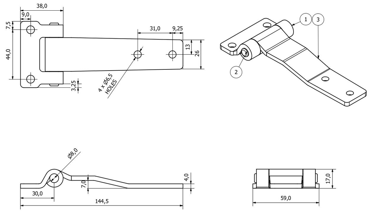 2 Pack Heavy Duty 145mm Strap Hinge Locker Door Hatch Zinc Plated 4mm Thick