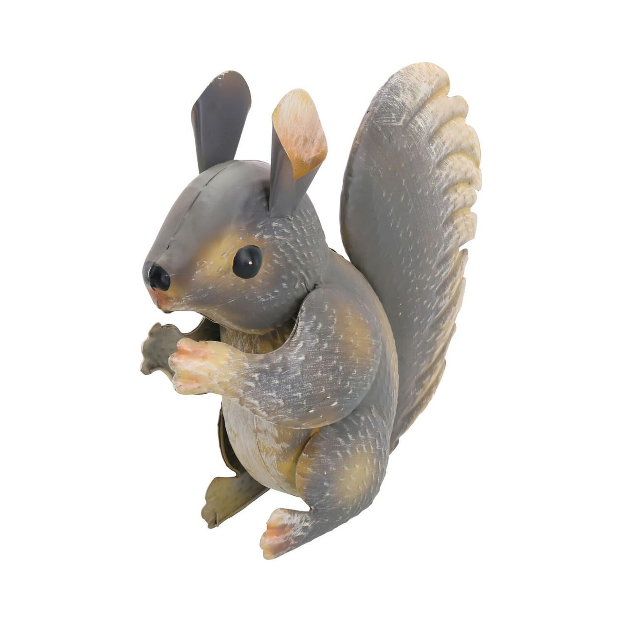 Grey Squirrel Garden Sculpture Ornament Statue Metal Decoration Animal Lawn
