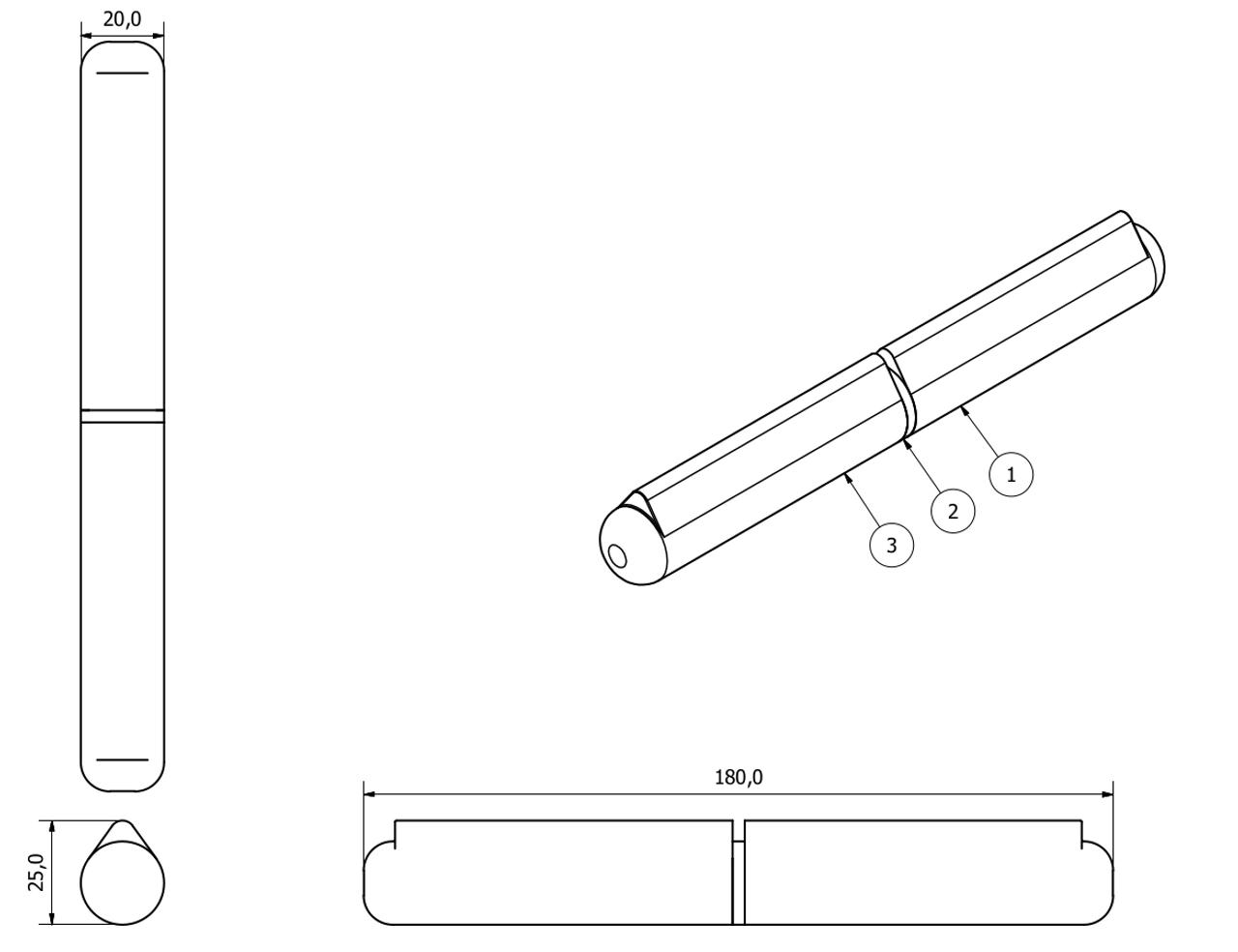 4pk Lift Off Stainless Steel Bullet Hinge Weld On 20x180mm Heavy Duty Door