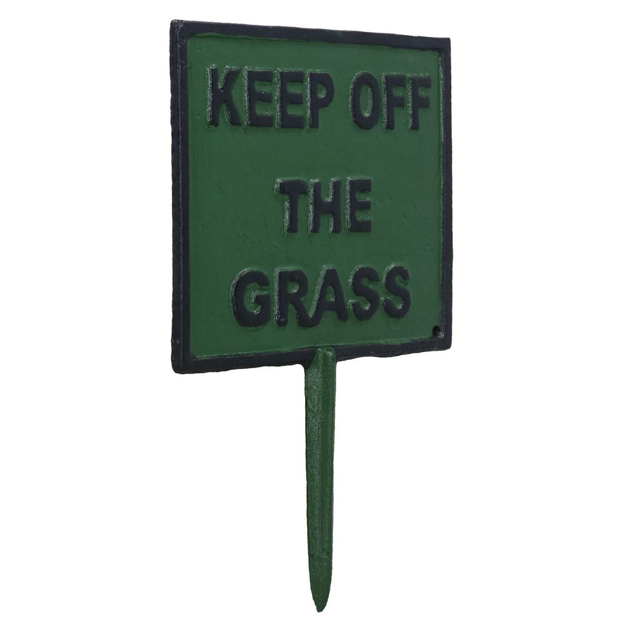 Keep off Grass Sign Cast Iron Sign Plaque Spike Stake Garden Park Lawn Yard