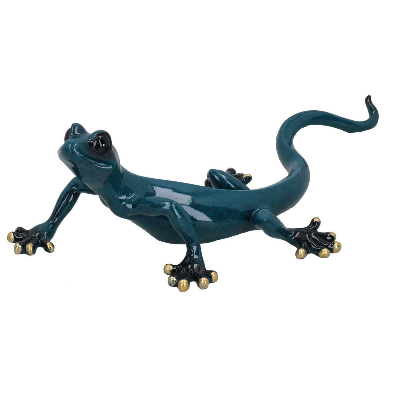 Blue Speckled Gecko Lizard Resin Wall Shed Sculpture Decor Statue Medium