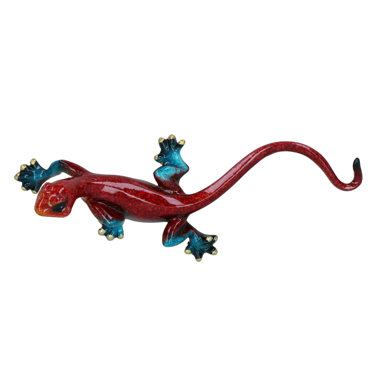 Red Speckled Gecko Lizard Resin Wall Shed Sculpture Decor Statue Small House