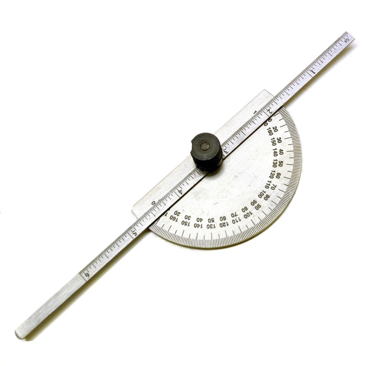 Engineers Metal Protractor with Depth Gauge Metric and Imperial Scale Sil107