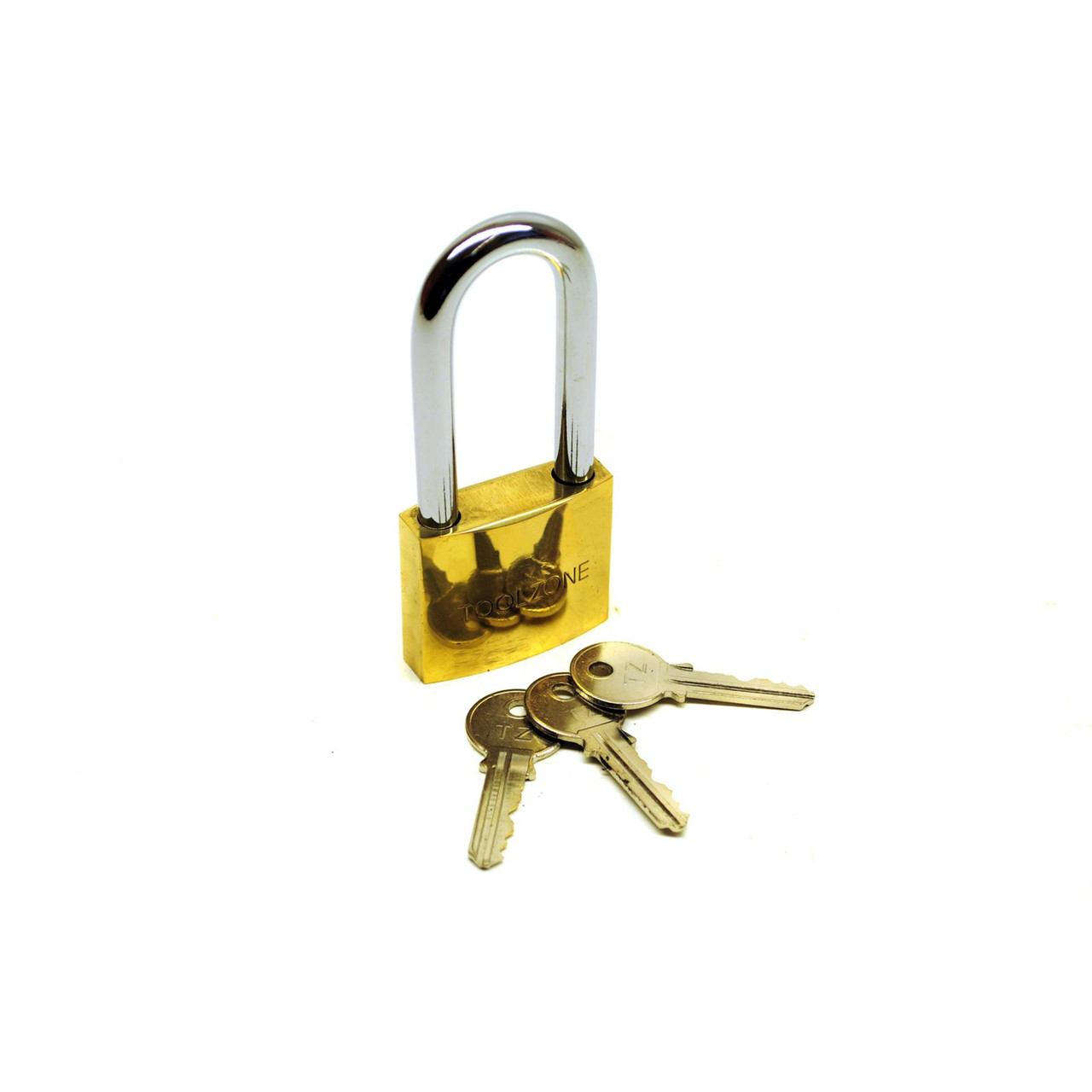 50mm long shackle brass padlock 3 keys security / lock / shed / garage TE620