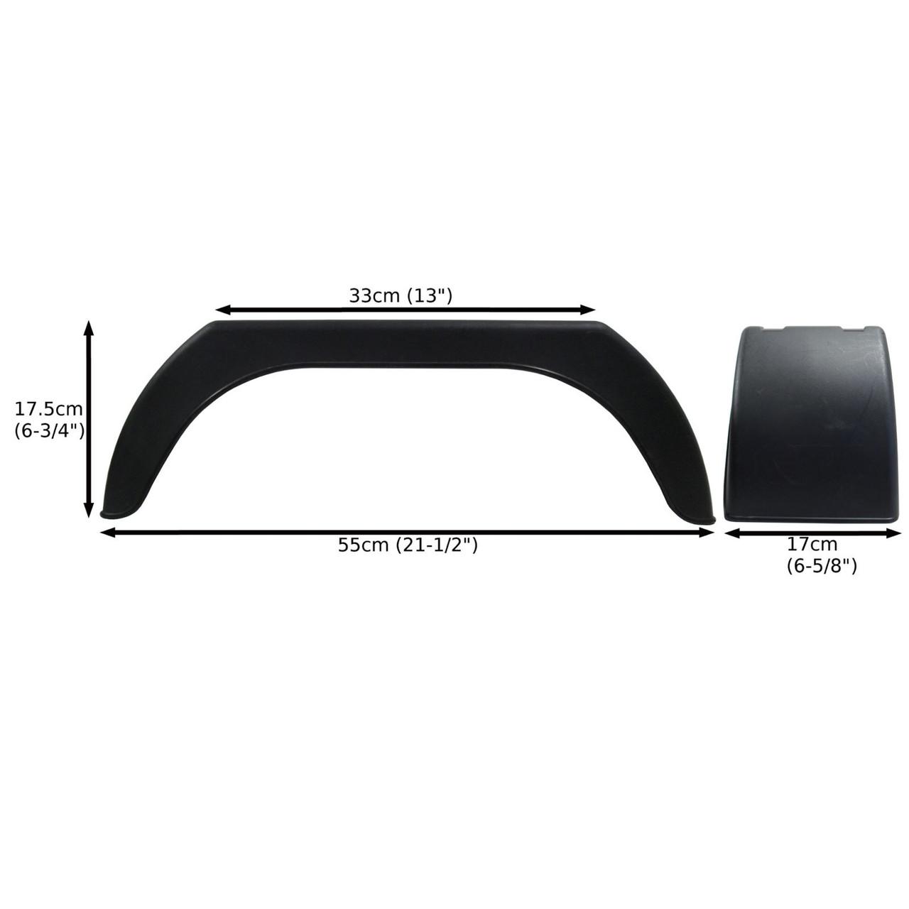 "Fender TR003 Wing Mudguard for Trailer Wheels 13/"" Plastic PAIR"