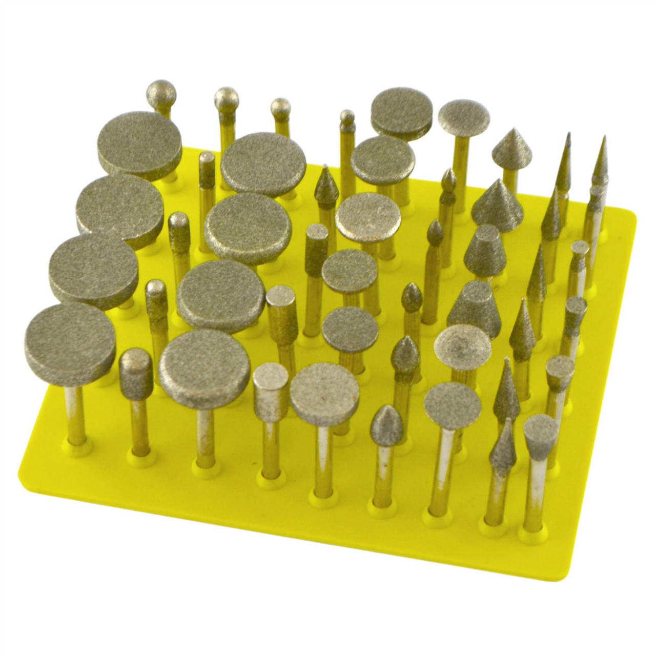 "50pc Diamond Burr Set 120 Grit Carving Engraving Rotary Etching 1/8"" Shank TE886"