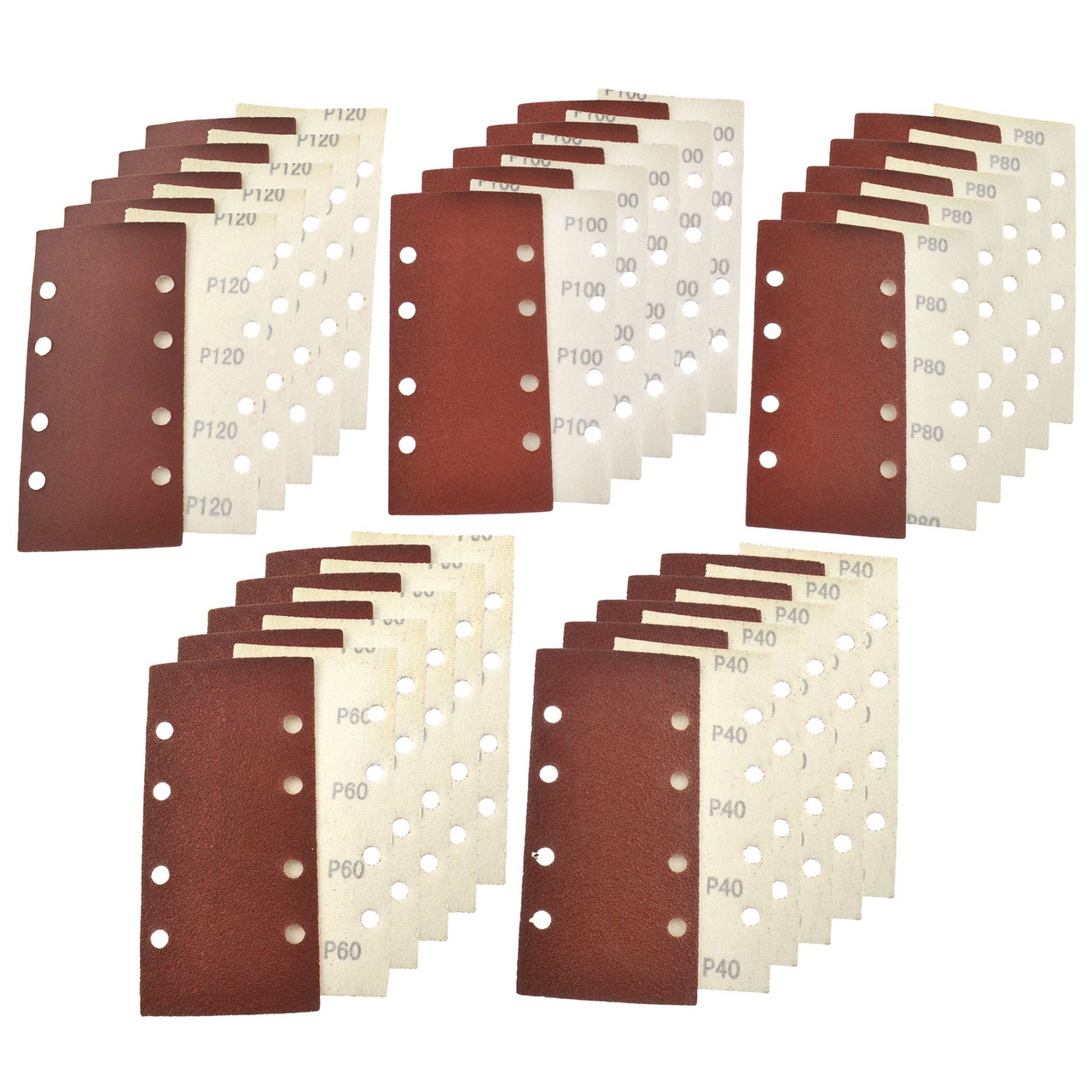 Hook/Loop 1/3 Sheet Sanding Sander Sandpaper Pads 50 Pack Mixed Grit 40  120