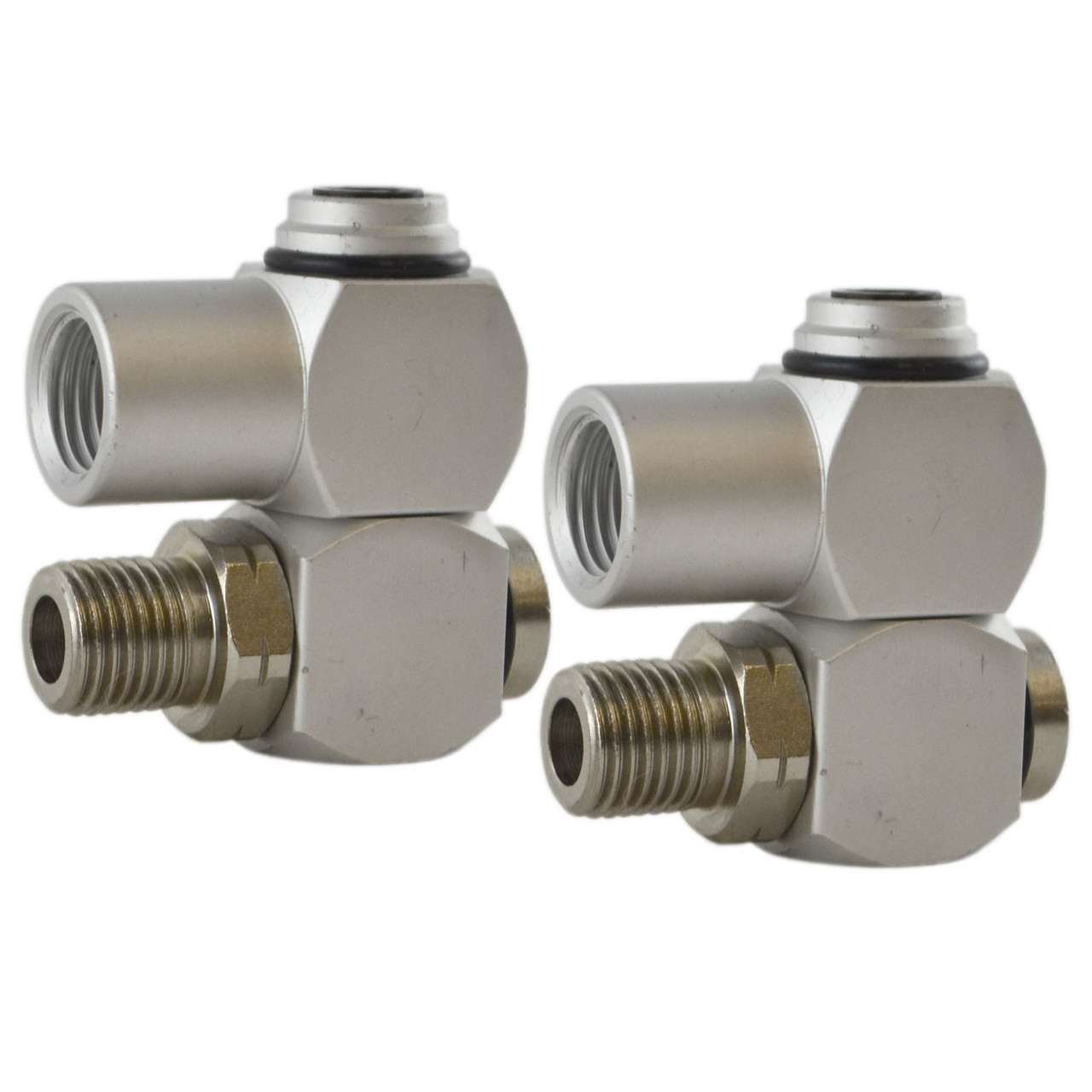 """1//4"""" BSP Male Female Air Compressor Fitting Connector 360 Degree Swivel 2pc"""