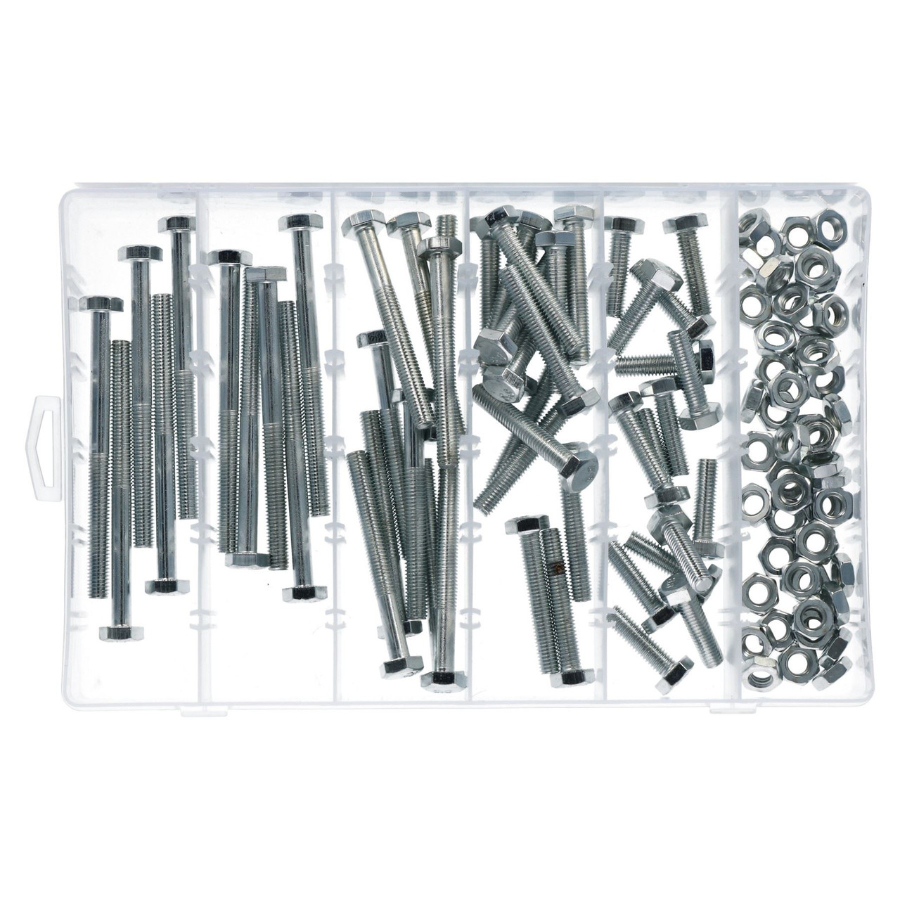M10 x 1.5 100pc Nut And Bolt Set 10mm Thread Various Length 30-100mm Bolts