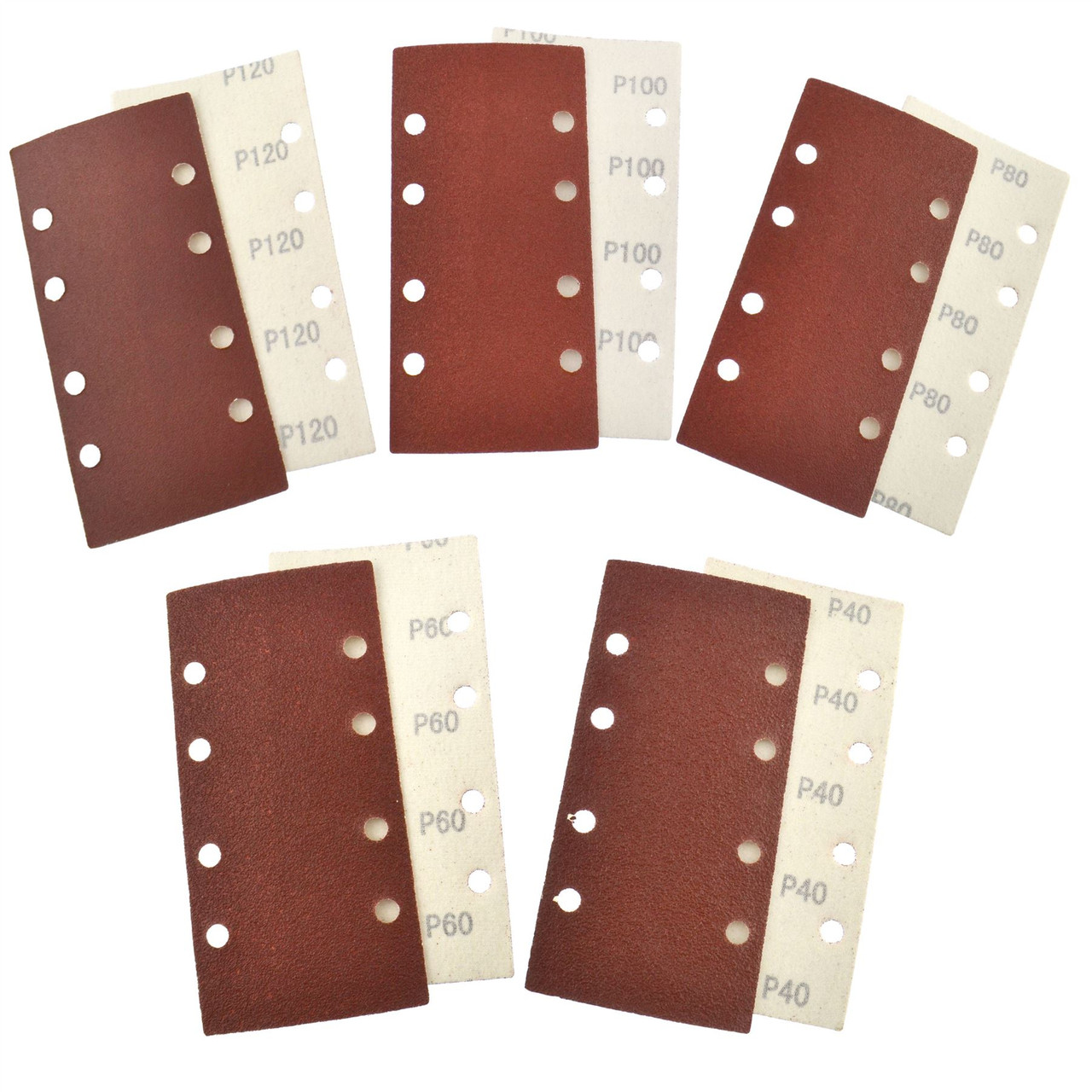 Hook/Loop 1/3 Sheet Sanding Sander Sandpaper Pads 10 Pack Mixed Grit 40  120