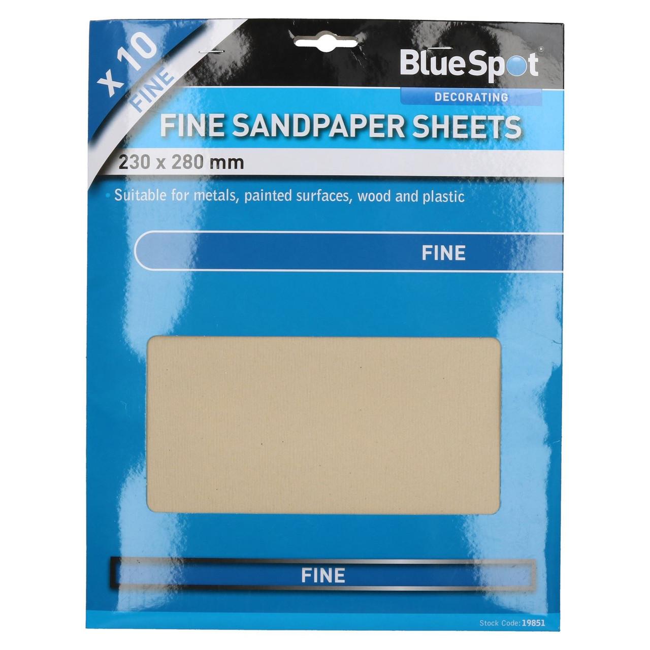 10pc Assorted Sandpaper Sanding Sheets for Metal Wood Plastic Fine 240 Grit