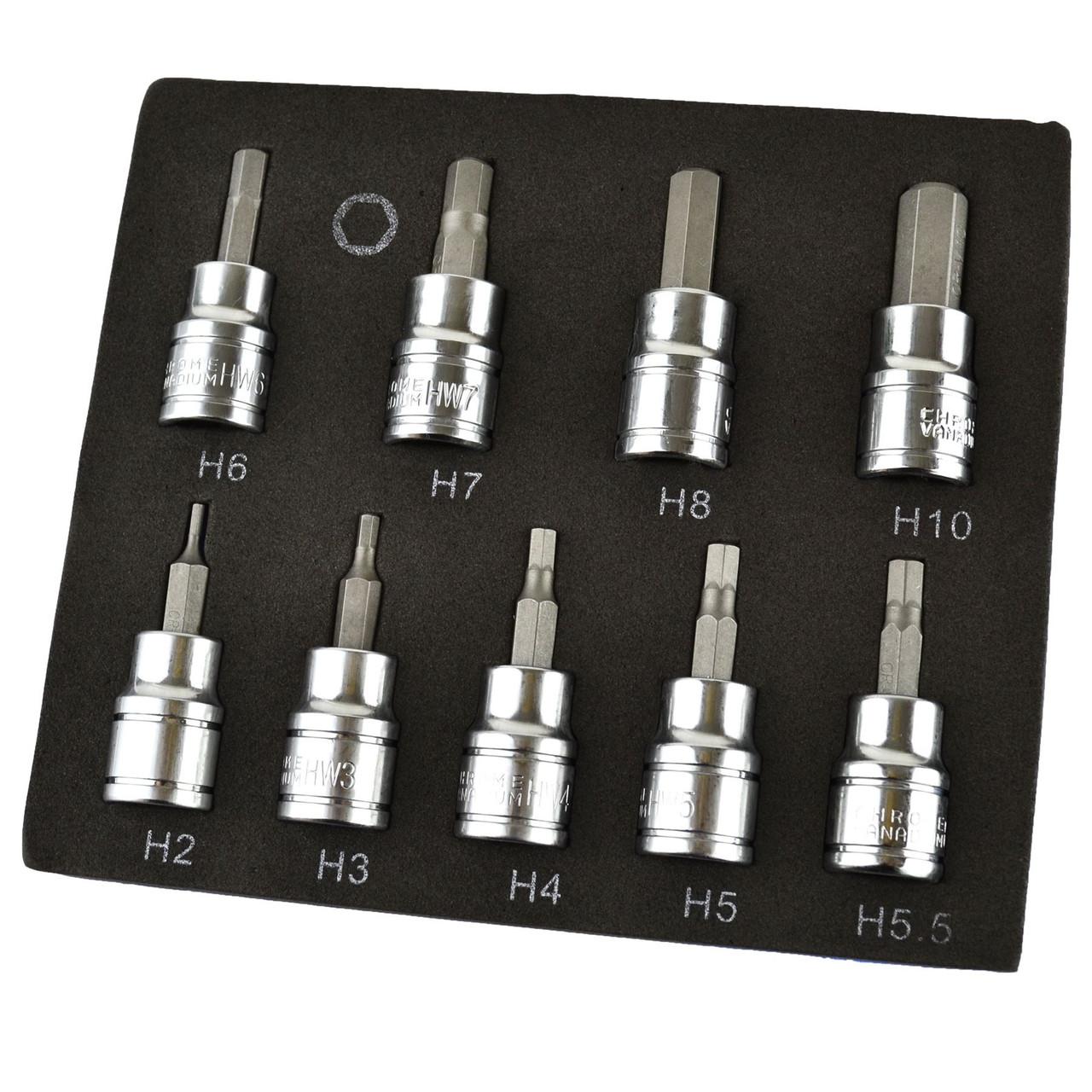 """Hex / Allen Sockets Key Bits 3/8"""" Drive 2mm - 10mm BERGEN 9pcs AT730"""