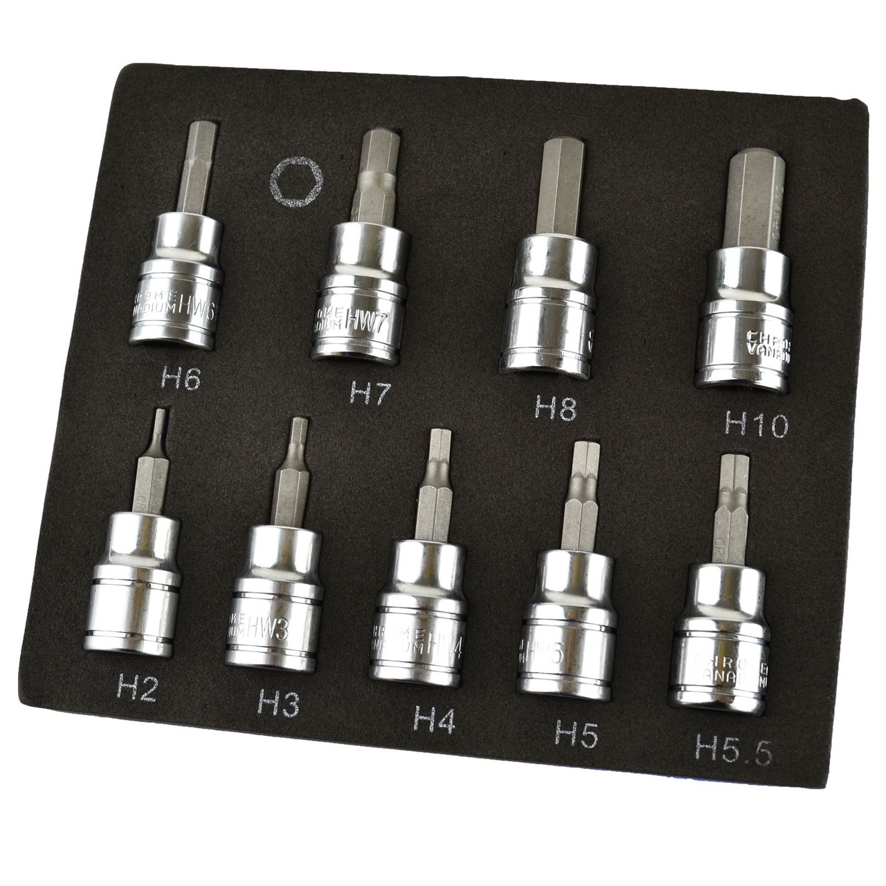 "Hex / Allen Sockets Key Bits 3/8"" Drive 2mm - 10mm BERGEN 9pcs AT730"