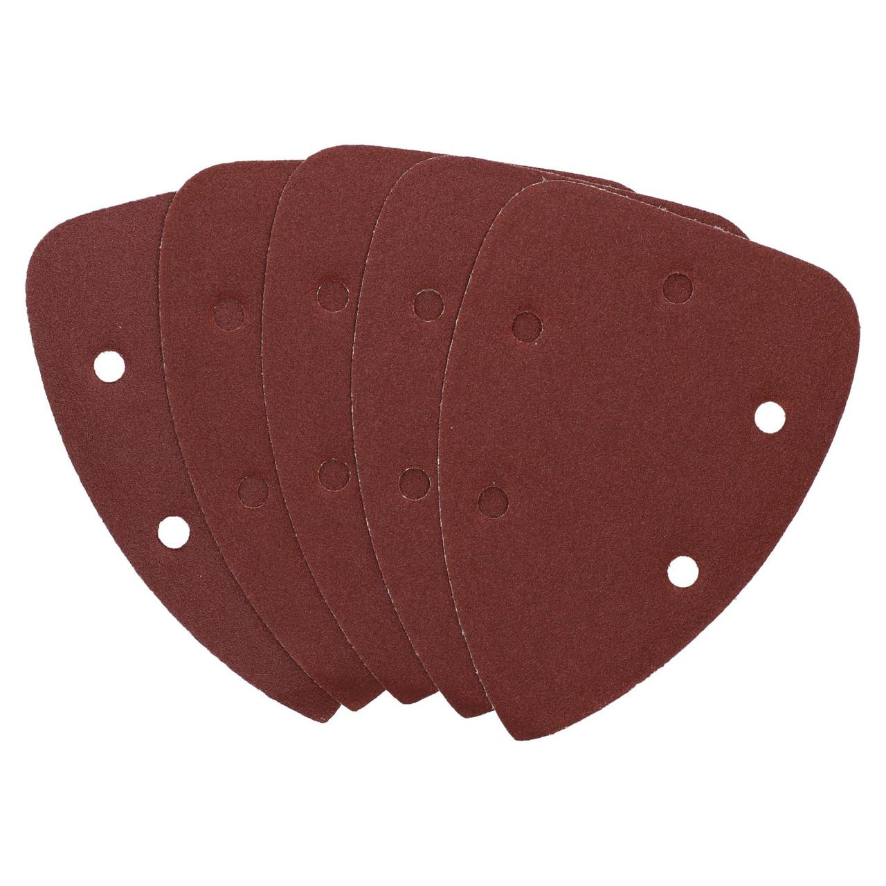 Hook And Loop Detail Sanding Pads Discs 140mm Triangular 80 Grit Medium 100pc
