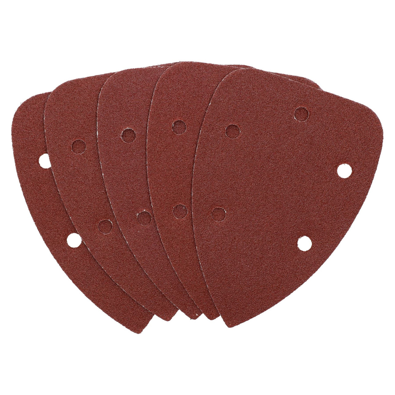 Hook And Loop Detail Sanding Pads Discs 140mm Triangular 80 Grit Medium 5pc
