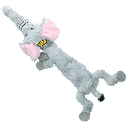 Plush Super Soft Unstuffed Wild Crinkler Elephant Dog Toy With Squeak 60x14x9