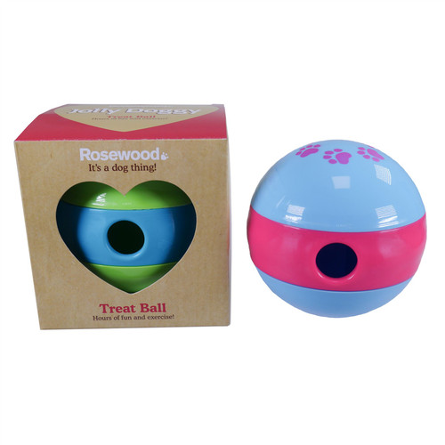 """4.5"""" Green and Blue Dog Treat Ball Dispenser Interactive  Feed Puppy Toy"""