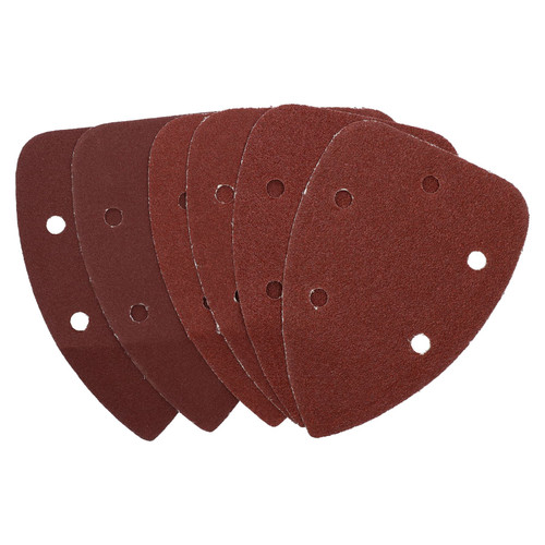 Hook And Loop Detail Sanding Pads Discs 140mm Triangular Mixed Grit 6 Pack