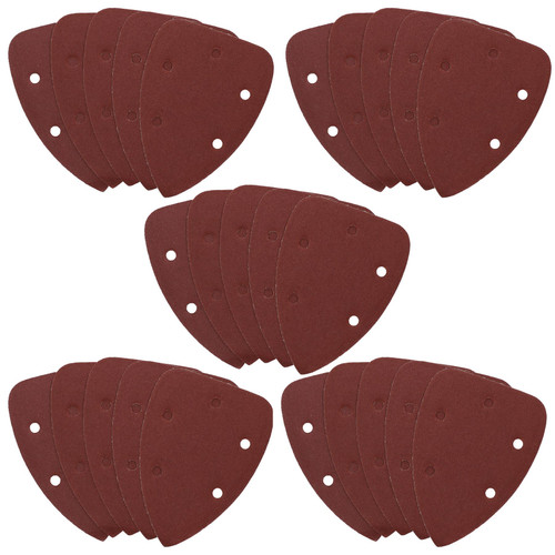 Hook And Loop Detail Sanding Pads Discs 140mm Triangular 60 Grit Coarse 25pc