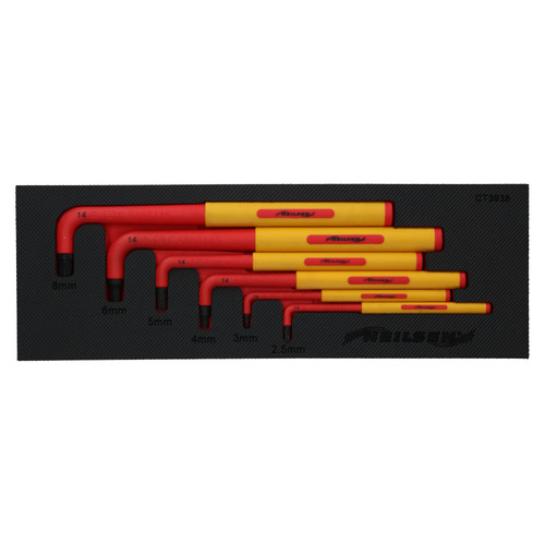 VDE Insulated Allen Hex Keys 2.5mm - 8mm 6pc Up To 1000V AC Protection