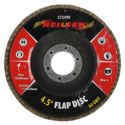 """60 Grit Flap Discs Sanding Grinding Rust Removing For 4-1/2"""" Angle Grinders 5pc"""