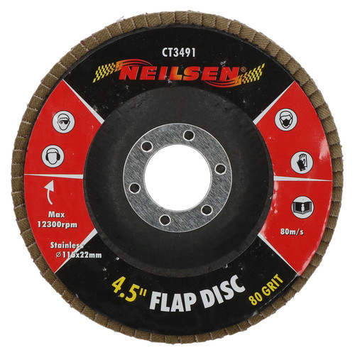 """80Grit Flap Discs Sanding Grinding Rust Removing For 4-1/2"""" Angle Grinders 10pc"""