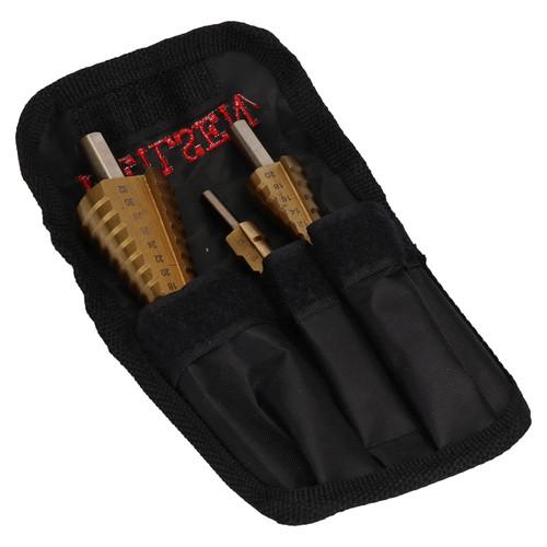 3pc HSS Titanium Coated Step Drills Cone Cutters 4mm - 32mm Drill Bits