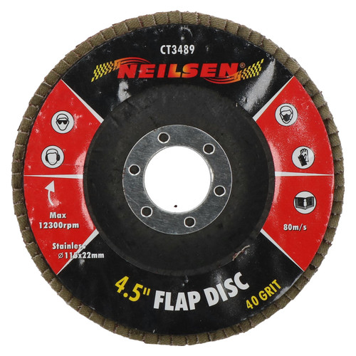 """40 Grit Flap Discs Sanding Grinding Rust Removing For 4-1/2"""" Angle Grinders 1pc"""