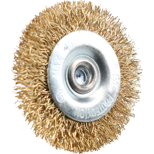 12 x 50mm Wide Flat Steel Wire Brush for Drills Brass Coated Rust Paint Remover