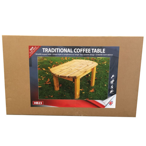 Garden Furniture Coffee Table Wooden Wood Construction Supplied Flat Packed