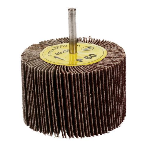 80mm x 50mm Flap Wheel Disc Abrasive Sanding Pad for Drills 60 Grit 2 Pack