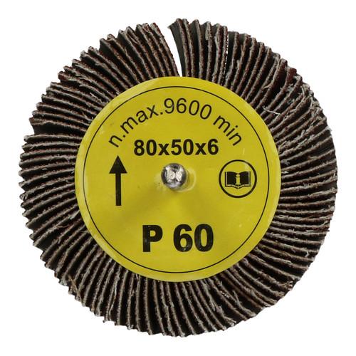 80mm x 50mm Flap Wheel Disc Abrasive Sanding Pad for Drills 60 Grit 6 Pack