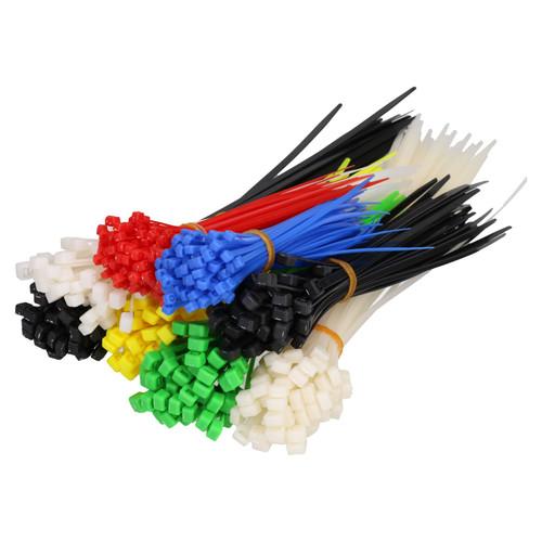 Cable Zip Ties Wraps Fasteners Plastic Nylon Various Sizes Multi Colour 500pc