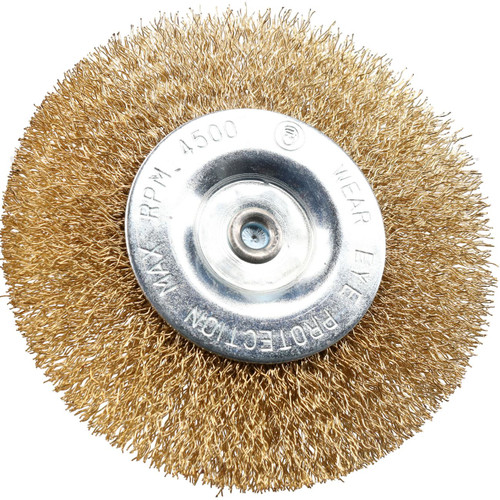 "100mm 4"" Wide Flat Steel Wire Brush for Drills Brass Coated Rust Paint Remover"