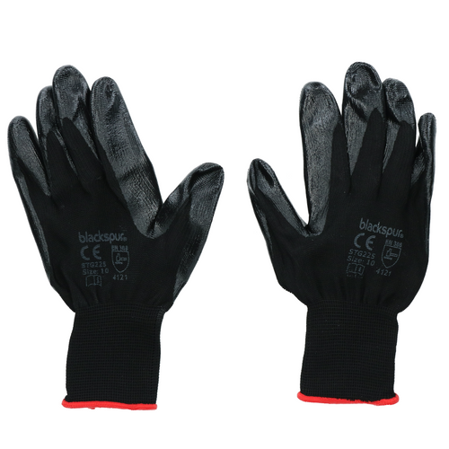 Black Nitrile Coated Gloves XL Multipurpose Workwear PPE Hand Protection