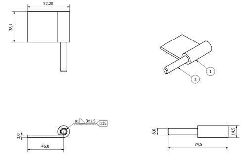 2 Pack Right Hand Steel Lift Off Leaf Hinges 50x80mm Heavy Duty Door Hinge